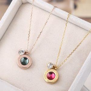MK Emerald Green & Crystal Slider Pendant Necklace
